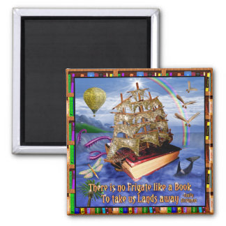 Escena del océano de la nave del libro con la cita imán cuadrado