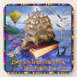 Escena del océano de la nave del libro con la cita posavaso