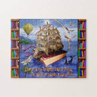 Escena del océano de la nave del libro con la cita puzzle