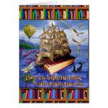 Escena del océano de la nave del libro con la cita tarjeta de felicitación