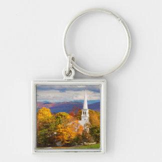 Escena del otoño en Peacham, Vermont, los E.E.U.U. Llavero Cuadrado Plateado