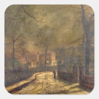 Escena del otoño, Leeds, 1874 (aceite a bordo) Pegatina Cuadrada