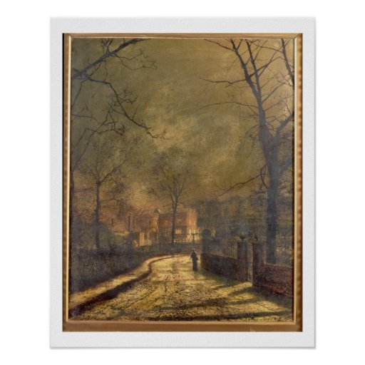 Escena del otoño, Leeds, 1874 (aceite a bordo) Póster
