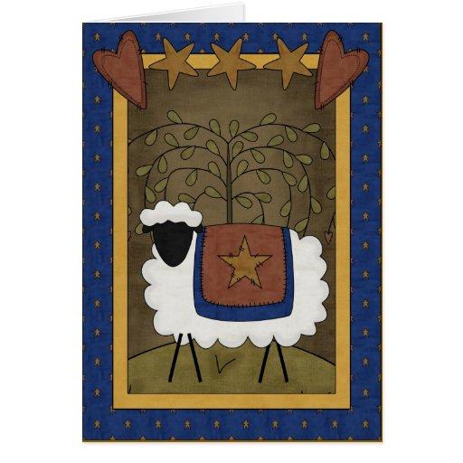 Escena del país de las ovejas de la alegría del tarjeta de felicitación