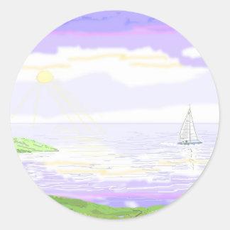 Escena del paisaje marino pegatina redonda