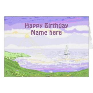 Escena del paisaje marino tarjeta de felicitación