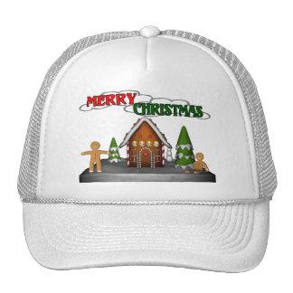 Escena del pan de jengibre de las Felices Navidad Gorras