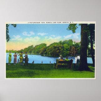Escena del parque del lago Seneca Póster
