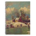 Escena del patinaje de hielo del vintage cuaderno