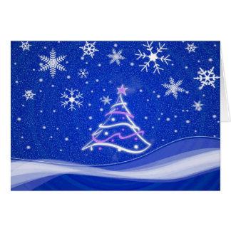 Escena del pleno invierno - azul tarjeta de felicitación