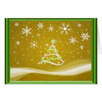 Escena del pleno invierno - oro y verde tarjeta de felicitación