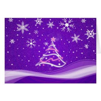 Escena del pleno invierno - púrpura tarjeta de felicitación