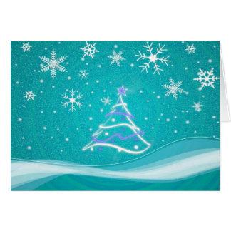 Escena del pleno invierno - turquesa tarjeta de felicitación