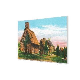 Escena del pueblo de los pioneros en parque del rí impresiones en lienzo estiradas