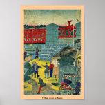 Escena del pueblo en Japón Poster