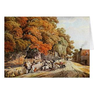 Escena del pueblo - tarjeta de la pintura de la ac