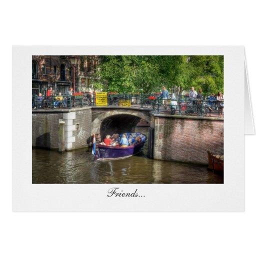 Escena del puente del canal - amigos tarjeta de felicitación