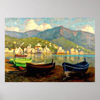 Escena del puerto de Rapallo; Pintura de Paul Fisc Póster
