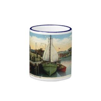 Escena del puerto, Gloucester, vintage del mA Tazas