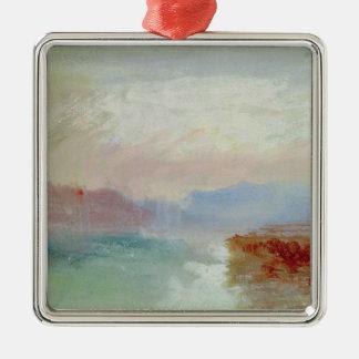 Escena del río, 1834 adorno navideño cuadrado de metal