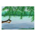 Escena del río con la tarjeta de comercio del arti tarjeta de visita