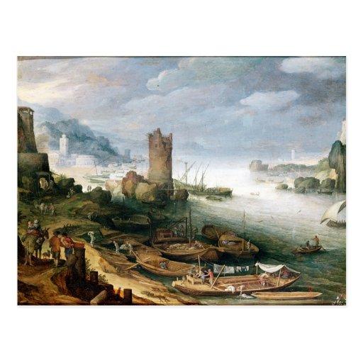 Escena del río con una torre arruinada postales