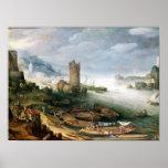 Escena del río con una torre arruinada póster