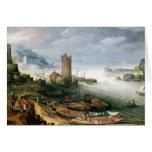 Escena del río con una torre arruinada tarjeta de felicitación