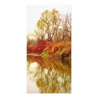 Escena del río del bosque de la caída plantilla para tarjeta de foto