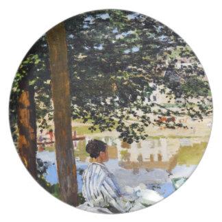 Escena del río en Bennecourt, Claude Monet 1868 fr Plato De Cena