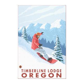 Escena del Snowboarder - casa de campo del Timberl Lona Envuelta Para Galerias