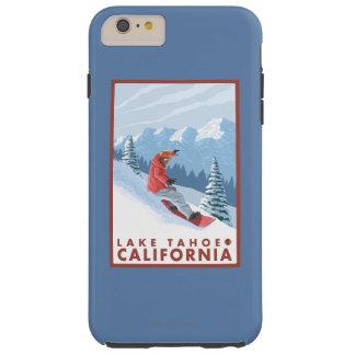Escena del Snowboarder - el lago Tahoe, California Funda De iPhone 6 Plus Tough