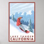 Escena del Snowboarder - el lago Tahoe, California Póster