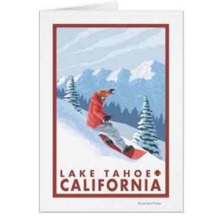 Escena del Snowboarder - el lago Tahoe, California Tarjeta