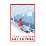 Escena del Snowboarder - el lago Tahoe, California Postal