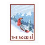 Escena del Snowboarder - los Rockies Tarjetas Postales