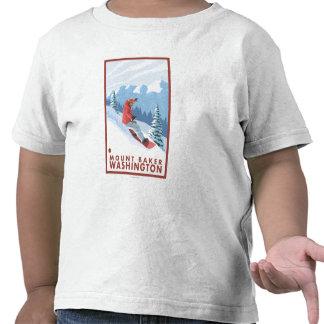 Escena del Snowboarder - panadero del soporte, Camiseta