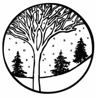 Escena del tiempo del invierno fotoescultura vertical