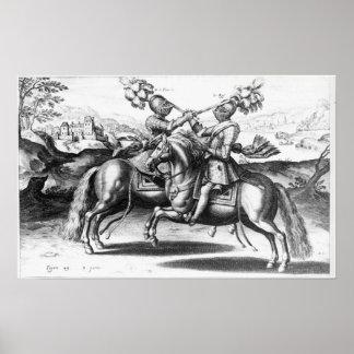 Escena del torneo entre Enrique IV y Antoine Póster