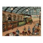 Escena del tren y de la estación del vapor del vin tarjetas postales