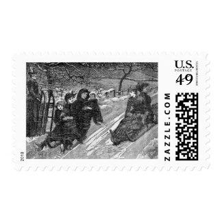 Escena del trineo largo del invierno del vintage sellos