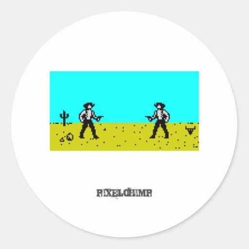 Escena del vaquero del pixel pegatina redonda