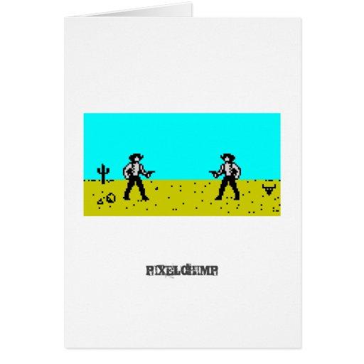 Escena del vaquero del pixel tarjetón