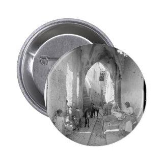 Escena del vintage de la ciudad vieja de Nazaret Pin Redondo De 2 Pulgadas