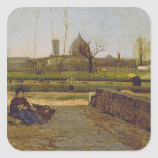 Escena diaria, cerca de Florencia, c.1865 Pegatina Cuadrada