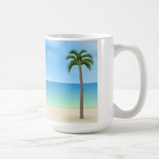 Escena diurna de la playa taza