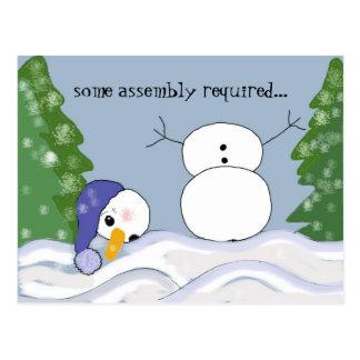 Escena divertida del muñeco de nieve tarjeta postal