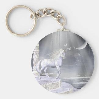 Escena divina del unicornio del ángel llavero redondo tipo pin