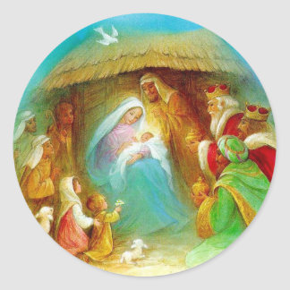 Escena elegante de la natividad, Maria Jesús José Pegatina Redonda