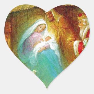 Escena elegante de la natividad, Maria Jesús José Pegatina Corazón